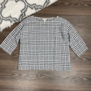 Eileen Fisher Gingham Linen + Cotton Top Size XS